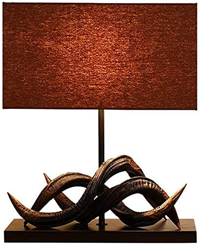 Lámparas de escritorio para oficina vintage tigre vid de mesa a mano lámpara de mesa dormitorio dormitorio habitación de madera lámpara de cama marrón tela rectangular sombra moderna asiática oriental