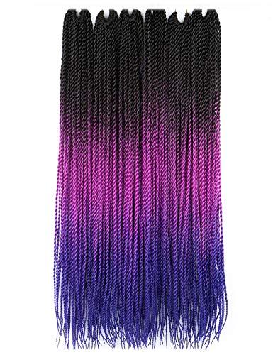 VCKOVCKO Ombre Senegalese Braids Crochet Braids Senegalese Twist Crochet Twist Braids Crochet Braiding Hair, 30 Roots/Bundles,6 Bundles/Lot,100g/Bundles,24' (60CM),(Black Purple Blue)