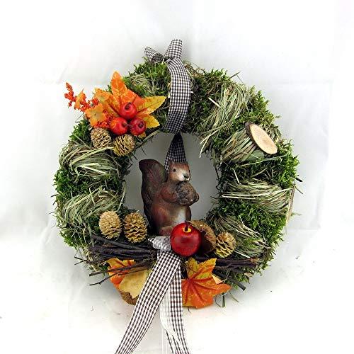 Small-Preis Türkranz Herbstkranz rund mit Eichhörnchen Handarbeit ø 28 cm - Herbst - Willkommensgruß 440/527