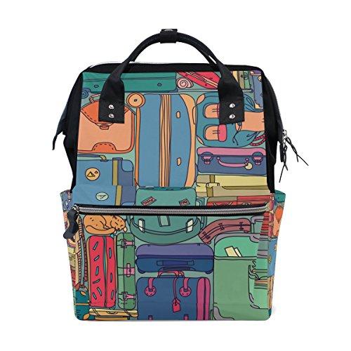 Tizorax Collection des valises de voyage avec vintage Stickers Diaper Sac à dos Grande capacité bébé Sac multifonctions Sacs à couches de voyage Maman Sac à dos pour bébé Care