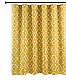 Biscaynebay Extra Long Textured Fabric Shower Curtains, Morocco Pearl Printed Bathroom Curtains, Gold 72 Inches Width by 84 Inches Length