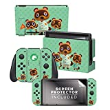 Controller Gear Aunthentic & Officially Licensed Animal Crossing: New Horizon - 'Tom Nook & Team' Nintendo Switch Skin Bundle
