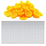 EUDAX 30mmx8mm Plastic Roll 2mm Dia Shaft Toys Wheel and 2mmx100mm STEM Shaft Round Rod Axles for DIY Toy RC Car Truck Boat Helicopter Model Part (Yellow, 100pcs)