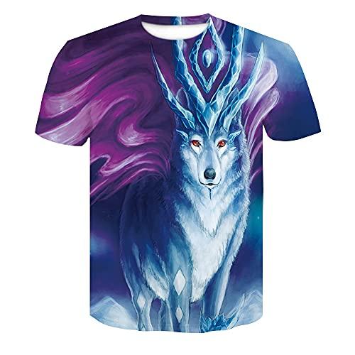 Casuales Camisas Hombre Verano Moda Cuello Redondo Hombre Camiseta Personalidad 3D Impresión Manga Corta Deportiva Camisa Urbana Novedad Creativa Streetwear Camisa AE048 XXL
