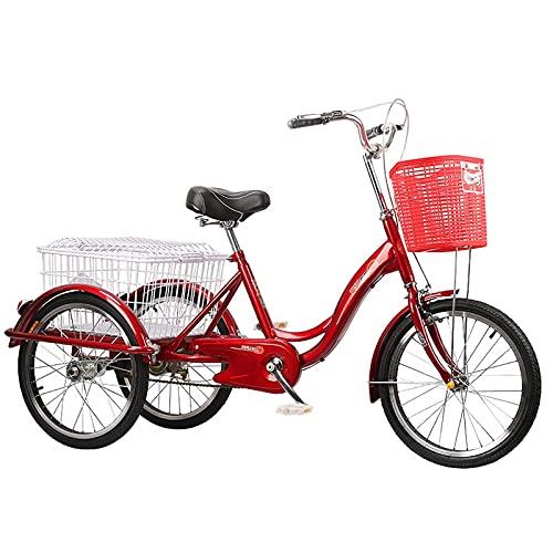 Triciclo para Adultos Triciclo de Pedal de Tres Ruedas Bicicleta de una Velocidad Crucero de Carga con Cesta de Compras para Personas Mayores Hombres Mujeres Ejercicio (Color: Plata), Triciclo