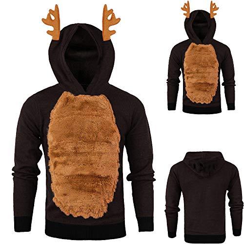 EVAEVA Weihnachtspullover Herren Hoodies Top Sweater Pulli Sweatshirt Weihnachtspulli weihnachtlichen Kapuzenpullover Plüschpullover Mit Elchohren Kapuze