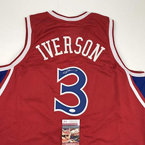 Autographed/Signed Allen Iverson Philadelphia Red Basketball Jersey JSA COA