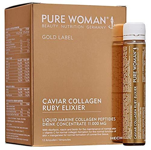 HECH Pure Woman Caviar Collagen Ruby Elixir 11 g Kollagenpeptide, Vitamin- und Mineralunterstützung, Getränkezusatz, 11 g Kollagenpeptide, Inhalt: 12 Ampullen