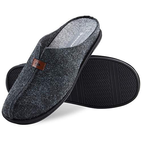 Dunlop Zapatillas Casa Hombre, Zapatillas Hombre Forro de Felpa, Pantuflas Hombre Suela Antideslizante, Regalos Para Hombre y Adolescentes Talla 41-46 (45, Gris oscuro, numeric_45)