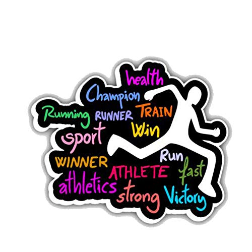 Autosticker, 12,7 cm x 10,5 cm, Fashion Runner Champion Sport, slogan, PVC, autosticker