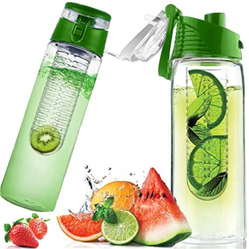 Retoo Borraccia da 700 ml con inserto per frutta in Tritan, senza BPA, con contenitore per frutta, coperchio apribile con maniglia, bottiglia d'acqua per frutti e grandi bottiglie sportive (verde)