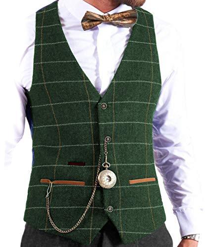 MoranX Herren Weste Tweed Wolle Kariert Slim Fit Business Hochzeit Anzugweste Taschenuhr(Grün,M)