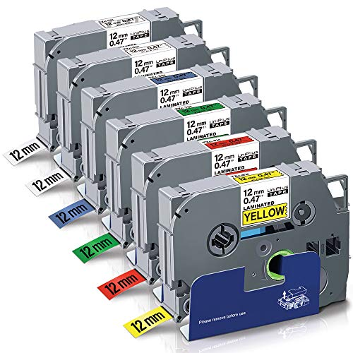 UniPlus 6x Nastro per Etichette Compatibile per Brother Tze-231 Tze-131 Tze-431 Tze-531 Tze-631 Tze-731 12mm Laminato Tape Cassetta per Brother P-Touch H105 H100LB 1000 1010 H100R E10, 12mm x 8m