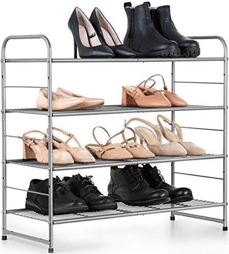 Zapatero de 4 capas, ampliable, banco de zapatos ajustable para 9-16 pares de zapatos, duradero y estable, metal, entrada, pasillo, espacio industrial, vintage (plateado)