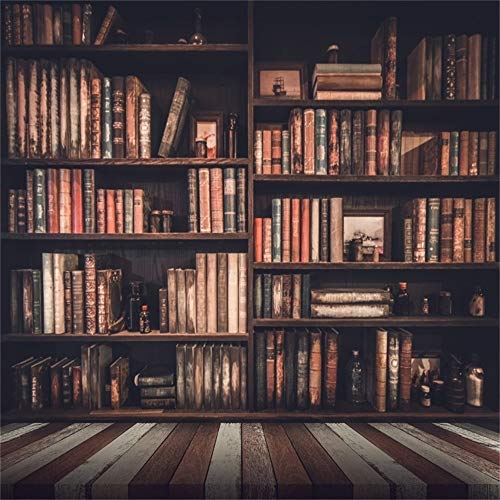 Laeacco Vinyl 8x8ft Photography Background Vintage Room Bookshelf Books Antique Wood Striped Floor Background Personal Portraits Wedding Paty Shooting Video Studio Props
