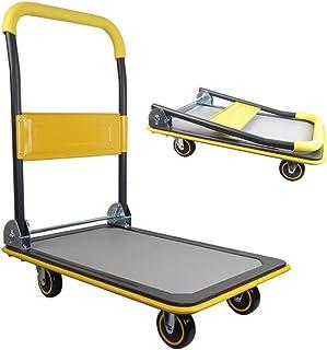 QIANGDA Plegable Carretillas de Plataforma Tarea Pesada Carretilla Superficie Antideslizante con Ruedas Giratorias para El Transporte
