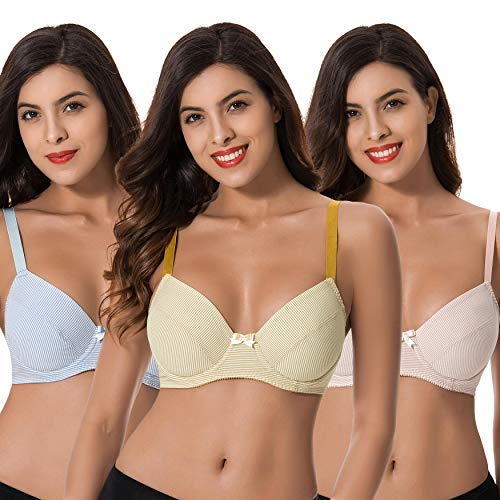 Curve Muse Plus Size Womens Cotton Unlined Balconette Underwire Bras-3 Pack-Yellow,Light Pink,Light BLUE-46DDDD