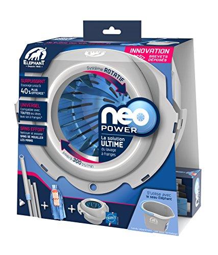 ELEPHANT – Kit Neo Power — Kit de nettoyage des sols contenant: 1 manche rotatif Neo Power, 1 tête à franges en microfibre, 1 système d'essorage rotatif breveté (300tr/min)