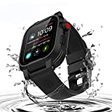 Waterproof Apple Watch 40mm Series 6 / 5 / 4 / SE Case,Shockproof Impact Resistant Rugged Protective Case with Bulit-in Screen Protector and 2 Soft Strap Bands for Apple Watch Series 4/5/6 SE 40mm