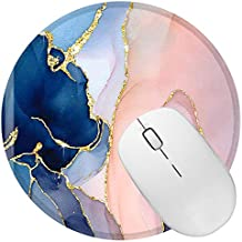 BOCHEERY Mouse Pad, Round Mouse Mat, Non-Slip Rubber Mousepad with Design, Cute Office Mouse Pad with Stitched Edge for Women Girls Office Computer Laptop Travel (Pretty Marble)