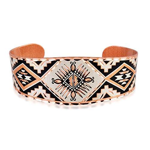 Pulseras de cobre hechas a mano, pulsera de rueda de medicina nativa americana para unisex, joyería de cobre ajustable, puño ancho y puño fino