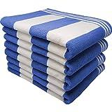 100 Percent Ringspun Combed Cotton Beach/Pool Towel Set. Sky Blue/White 4 Piece Cabana Stripe (X-Large 30x65 450 GSM)