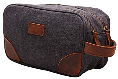 Vintage Leather Canvas Travel Toiletry Bag Shaving Dopp Kit #A001