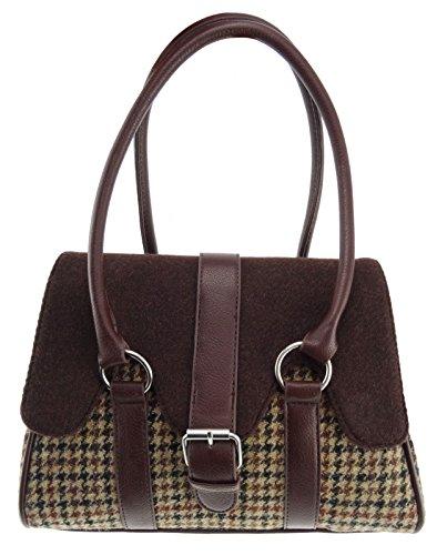 Harris Tweed Damen Handtasche mit Klappdeckel, Braun/Braun, LB1018 Col27/Col36 Gr. One size, braun