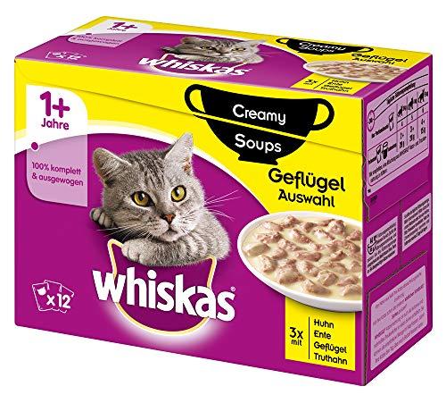 Whiskas 1 + Creamy Soups Katzenfutter – Hochwertiges Nassfutter für gesundes Fell – Feuchtfutter in verschiedenen Geschmacksrichtungen
