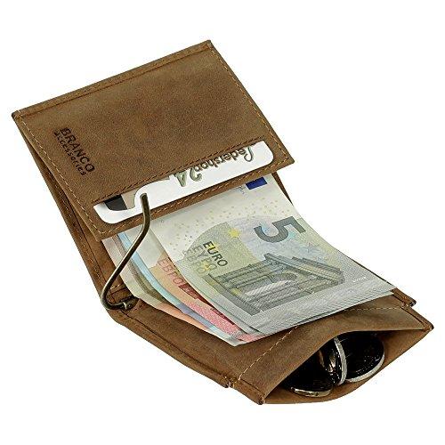 Sportliche Leder Dollarclip Herren Geldbörse Geldclip Geldbeutel mit Geldklammer Portemonnaie Rust