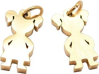 PH PandaHall 20PCS Stainless Steel Pendant Girl Silhouette Charm Pendant Dangle Jewellery Accessory for Women Men Gifts