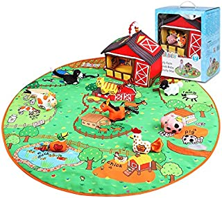 KidzBuy Farm Animal Play Set | Early Learning Interactive 3D Animals Activity Mat for Baby | Farm Animals plush toy with s...