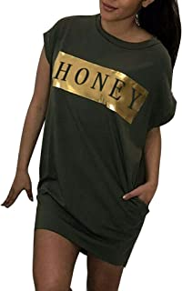 Women Summer Letter Long Tops Blouse Ladies Short Sleeve Pocket T-Shirt Dress
