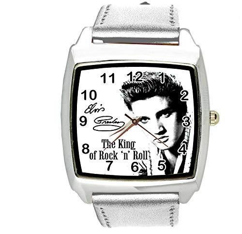 TAPORT® Armbanduhr Analog Quarz mit Echtleder Band Silber Quadrat für Fan von Elvis Presley