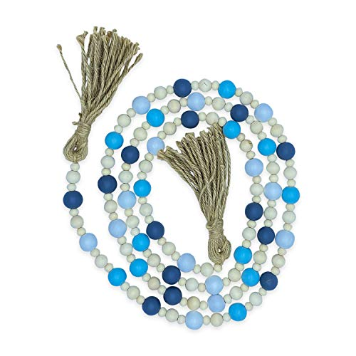Creative Solutions Farmhouse 72' Wood Bead Garland with Tassels: Blue/White/Gray Multi-Colored Rustic Prayer Beads for Wall Hanging Decor