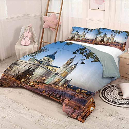 HELLOLEON - Juego de 3 fundas de edredón y 2 fundas de almohada, diseño de la antigua catedral y el palacio real de Madrid, mediterráneo, mod ciudad, Europa, impresión urbana (2 camas)