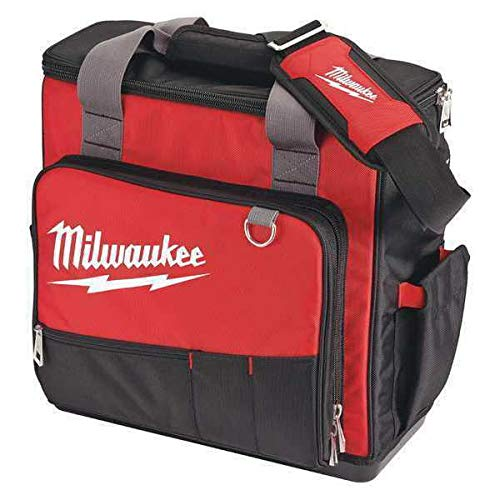 MILWAUKEE 48-22-8210 Tool Bag, 1680D Ballistic, 30 Pockets, Red/Black, 17'