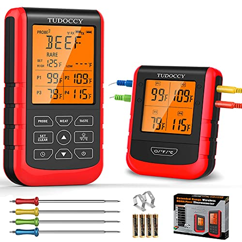 Meat Thermometer Wireless Digital BBQ Thermometer with 4 Probes, Remote Instant Read Cooking Food Grill Thermometer, Upgraded 500FT Range Smoker Thermometer for Oven Kitchen, Smart LCD Backlit Screen
