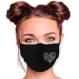 Alsino Alltagsmaske Mundschutzmaske Mundschutz Stoffmaske mit Glitzersteinchen verstellbar Herren Damen Verschiedene Motive (Herz 1)