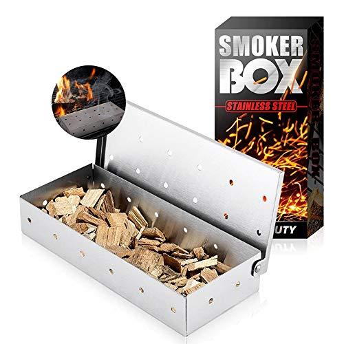 Caja de ahumador, caja de ahumador de barbacoa para parrilla de carbón caja de ahumadores de carne accesorios para barbacoa, astillas de madera de acero inoxidable caja de humo-astilla (sin astillas)