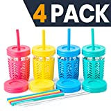 Childrens Cups/Kids Cups by JumpinJars! 4 Kids Mason Jar Cups with Straw (x8), 8x Lids, 4x Jackets,...