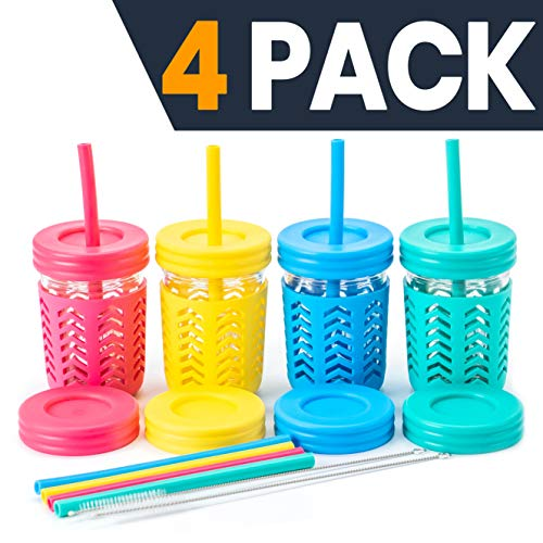Childrens Cups/Kids Cups by JumpinJars! 4 Kids Mason Jar Cups with Straw (x8), 8x Lids, 4x Jackets, 2x Straw Cleaners! Spill Proof Cups For Kids – Kids Tumbler with Straw – 8oz Kid Drinking Glass