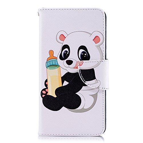 Funluna Huawei Y6 Pro 2017 / P9 Lite Mini Hülle, Panda Baby Muster Stoßfest Klapphülle Embossed Gemalt Slim Brieftasche Lederhülle mit Kartenfächer Magnetverschluss Bumper Hülle