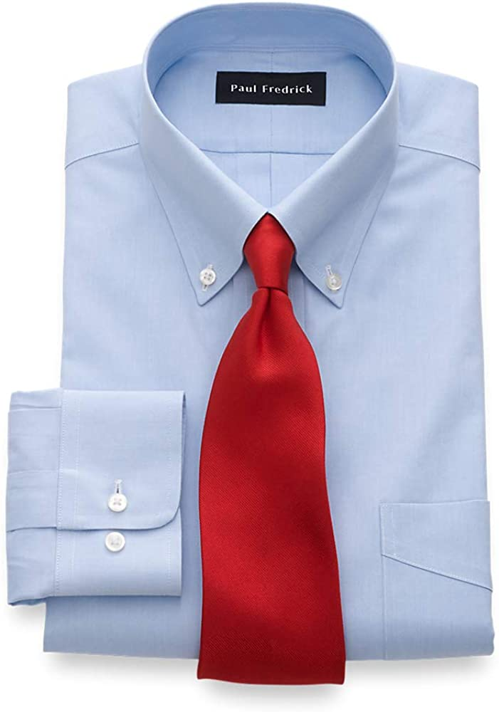 Paul Fredrick Men's Tailored Fit Impeccable Non-Iron Cotton Dress Shirt