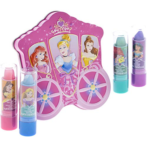 TownleyGirl Disney Princess Pack Lip Gloss with Carraige Inspired Storage Case, 1 Count, (Pack of 4)