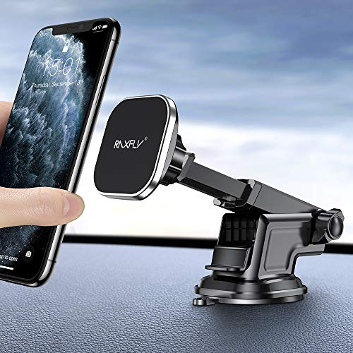 Magnetic Car Phone Mount RAXFLY 8 N52 Dashboard Windshield Magnet Car Holder 3 Metal Plate Magnetic Phone Car Mount Holder Compatible with Samsung Galaxy S20 Plus Ultra iPhone 11 XR Pro Max Smartphone