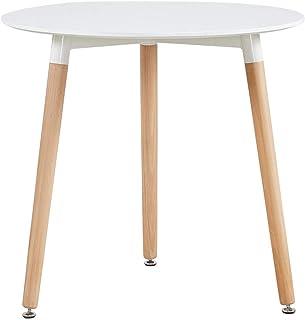 DORAFAIR Mesa Comedor Redondas Blancas Mesa Cocina Escandinavo y Patas de Madera de Haya 80 * 72 cm