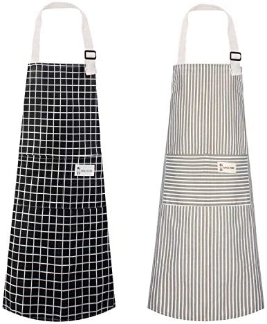 Polma Aprons 2 Pack Cotton Linen Adjustable Bib Aprons with 2 Pockets Cooking Kitchen Aprons product image