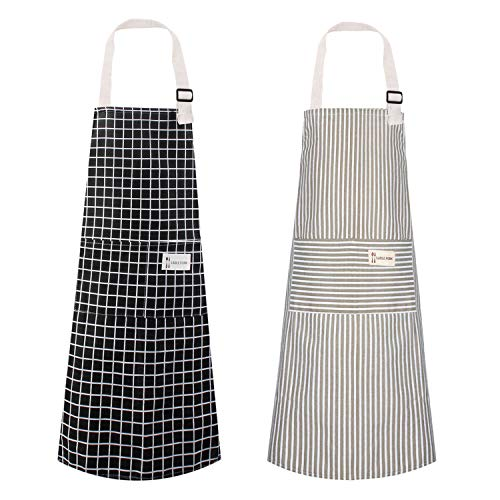 Polma Aprons 2 Pack Cotton Linen Adjustable Bib Aprons with 2 Pockets Cooking Kitchen Aprons for Men Women