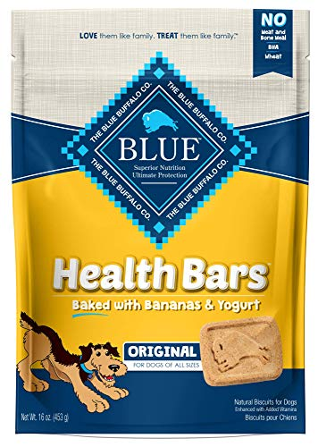 Blue Buffalo Health Bars Natural Crunchy Dog Treats Biscuits, Banana & Yogurt 16-oz bag